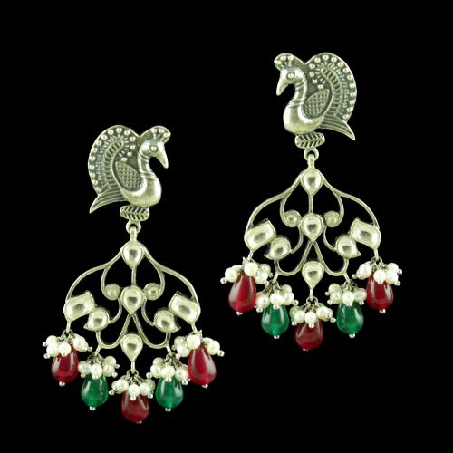 OXIDIZED PEACOCK KUNDAN STONE EARRINGS
