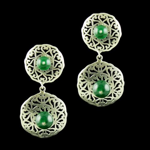 OXIDIZED SILVER EARRINGS WITH GREEN ONYX STONES