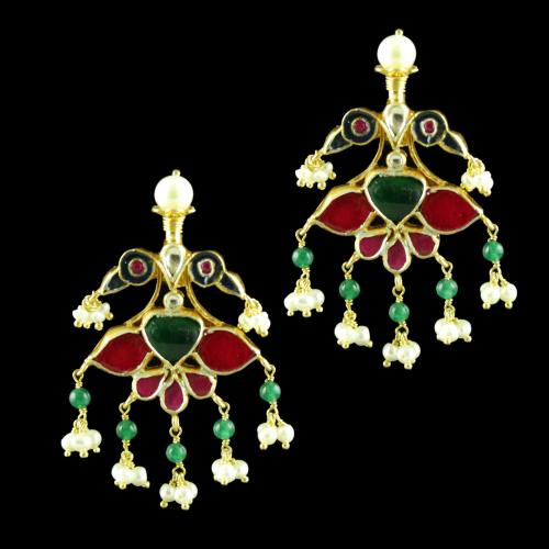GOLD PLATED KUNDAN STONE EARRINGS WITH GREEN HYDRO AND PEARLS