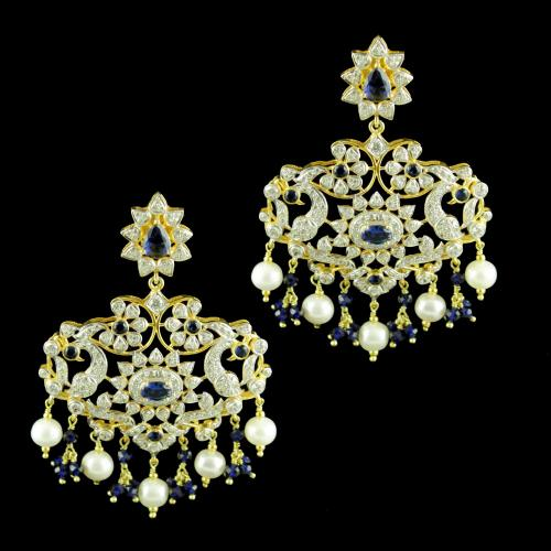 GOLD PLATED CZ STONE EARRINGS WITH BLUE SAPPHIRE AND PEARLS