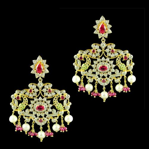 GOLD PLATED CZ STONE EARRINGS WITH RUBY AND PEARLS
