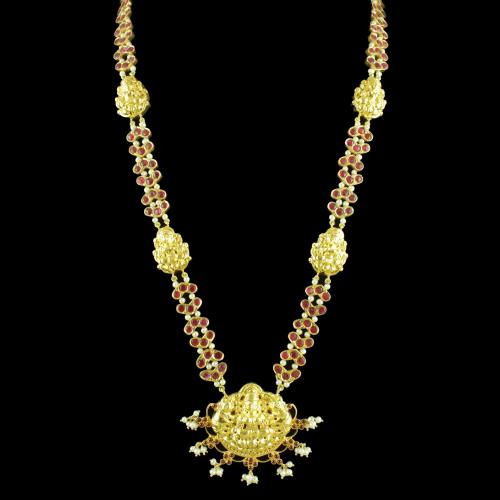 GOLD PLATED LAKSHMI KUNDAN STONE NECKLACE WITH PEARLS