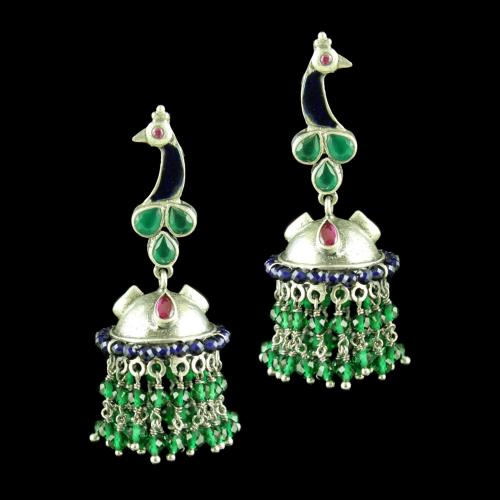 OXIDIZED MEENA PEACOCK JHUMKA WITH GREEN HYDRO RED CORUNDUM AND BLUE SAPPHIRE
