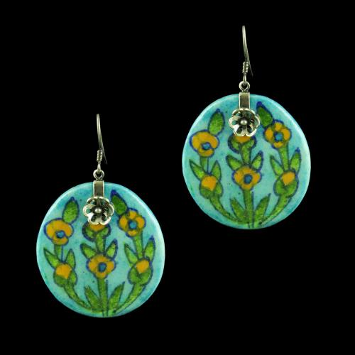 OXIDIZED SILVER BLUE POTTERY HANGING EARRINGS