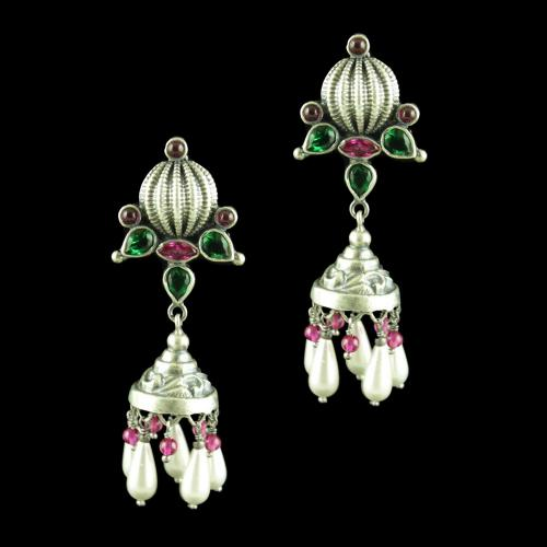 OXIDIZED SILVER JHUMKAS STUDDED RED CORUNDUM AND GREEN HYDRO WITH PEARLS