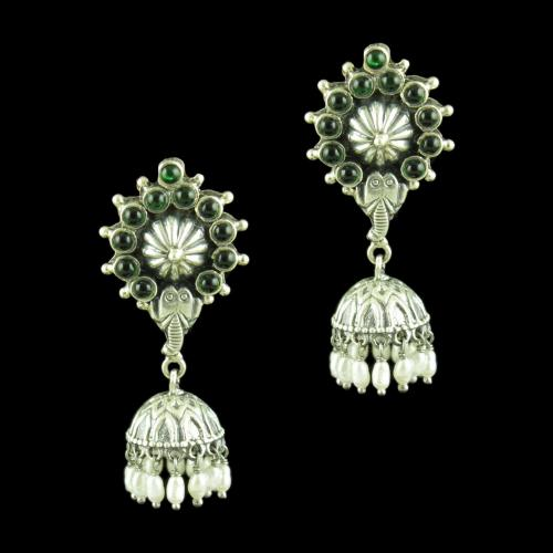OXIDIZED SILVER JHUMKAS STUDDED GREEN HYDRO WITH PEARLS