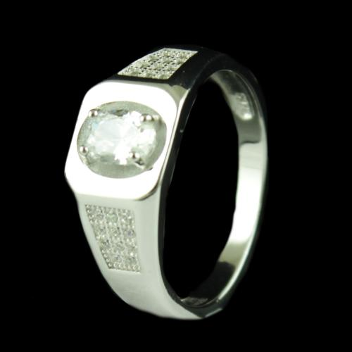 R6704 Sterling Silver Ring Studded Zircon Stones