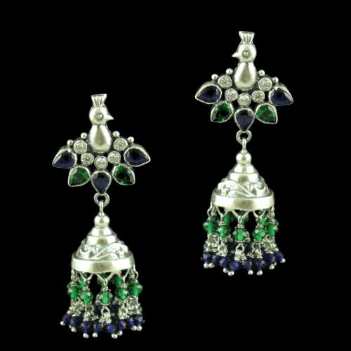 OXIDIZED PEACOCK JHUMKA EARRINGS WITH CZ BLUE SAPPHIRE AND EMERALD