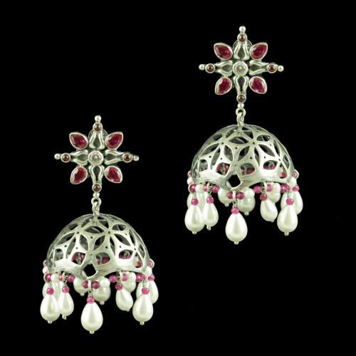 OXIDIZED JHUMKAS STUDDED CZ RED CORUNDUM AND PEARL