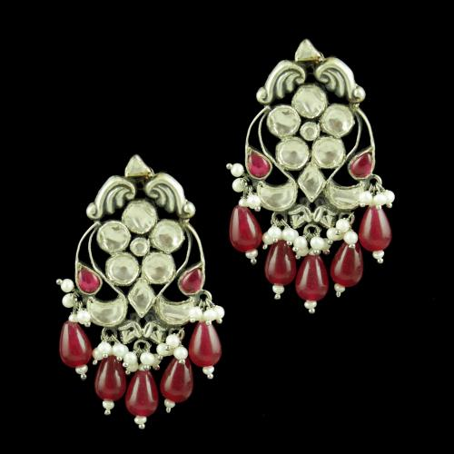OXIDIZED KUNDAN EARRINGS WITH RED ONYX AND PEARL BEADS