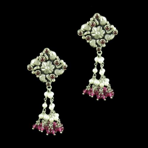 OXIDIZED SILVER EARRINGS WITH RED CORUNDUM AND PEARL BEADS