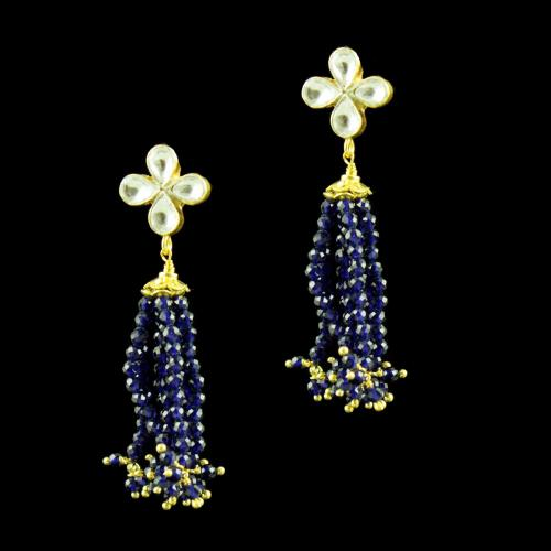 GOLD PLATED KUNDAN AND BLUE SAPPHIRE EARRINGS