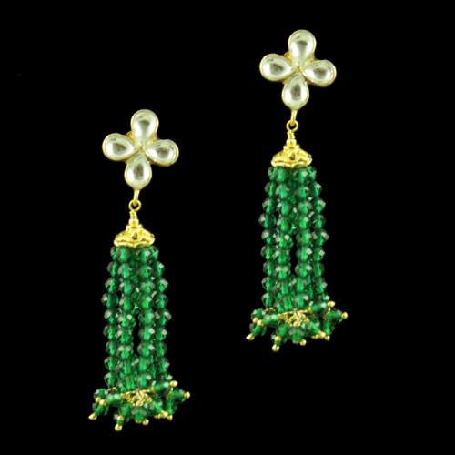 GOLD PLATED KUNDAN AND GREEN HYDRO BEADS EARRINGS
