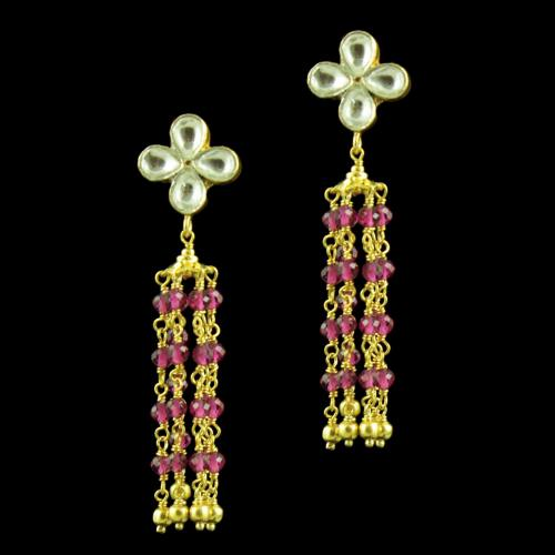 GOLD PLATED KUNDAN AND RUBY BEADS EARRINGS