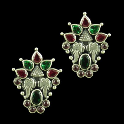 OXIDIZED SILVER RED CORUNDUM AND GREEN HYDRO EARRINGS