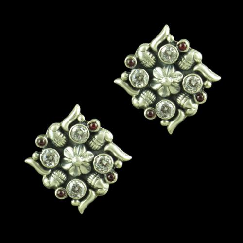 OXIDIZED SILVER EARRINGS WITH CZ AND RED CORUNDUM
