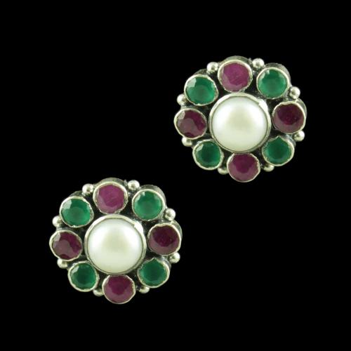 OXIDIZED SILVER RED CORUNDUM GREEN HYDRO WITH PEARL EARRINGS