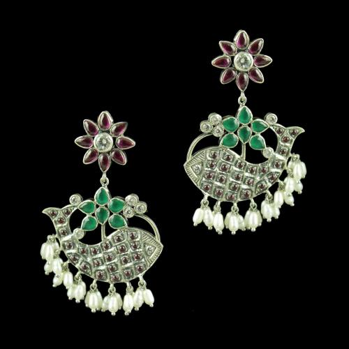 Silver Oxidized Floral Design Drops Earrings Red Onyx Stones And Pearls