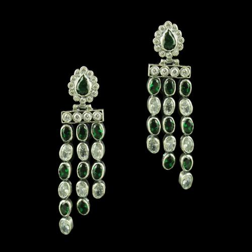 OXIDIZED SILVER WITH CZ AND GREEN HYDRO EARRINGS