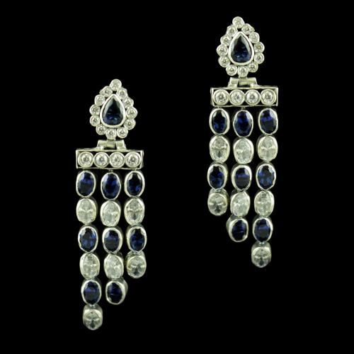 OXIDIZED SILVER WITH CZ AND BLUE SAPPHIRE EARRINGS