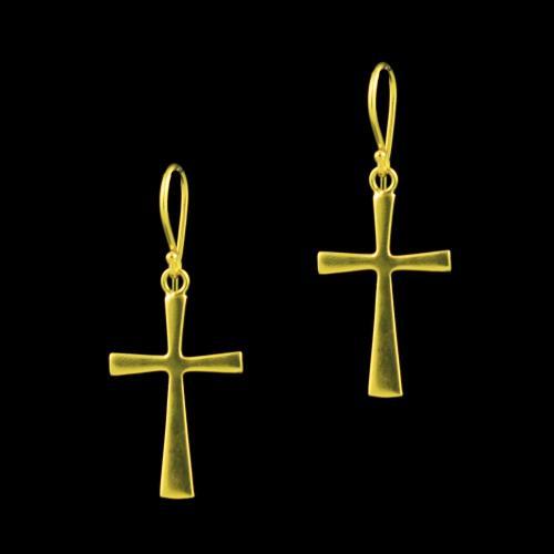 GOLD PLATED CROSS EARRINGS