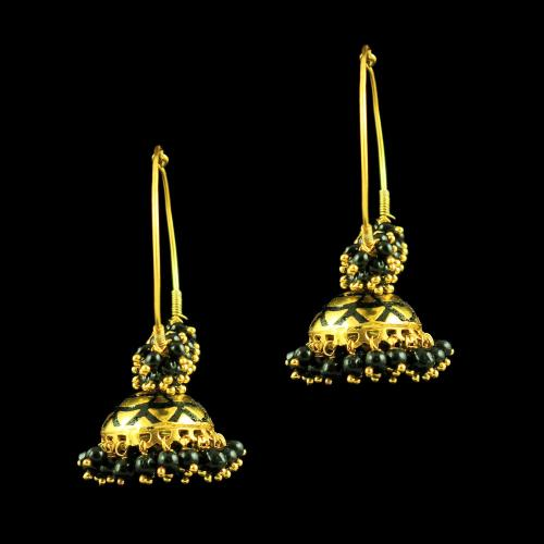 GOLD PLATED ENAMEL EARRINGS WITH BLACK BEADS