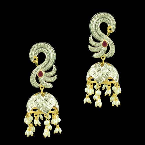 GOLD PLATED CZ EARRINGS WITH RUBY AND PEARLS