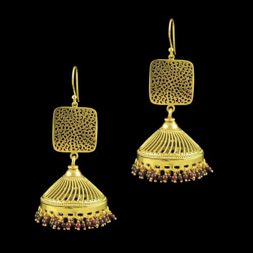 GOLD PLATED JHUMKA EARRINGS WITH GARNET BEADS