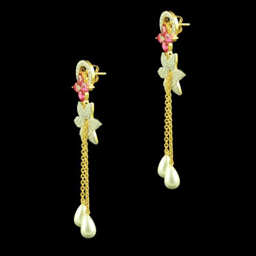 Gold Plated Florali Earrings Studded Pearl And Zircon Stones