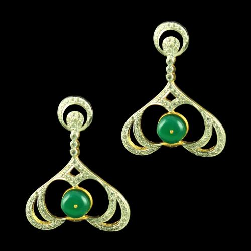 GOLD PLATED FLORAL EARRINGS WITH CZ AND EMERALD