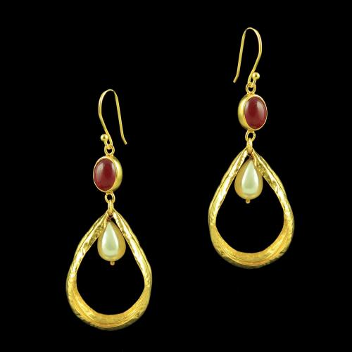 Silver Gold Plated Hanging Earring Studded Red Onyx Stones
