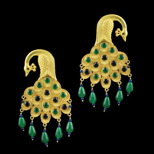 GOLD PLATED PEACOCK EARRINGS WITH EMERALD AND BLUE SAPPHIRE BEADS