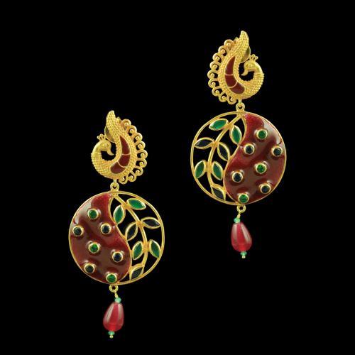Gold Plated Flower Leaf design Earrings studded Semi Precious Stones