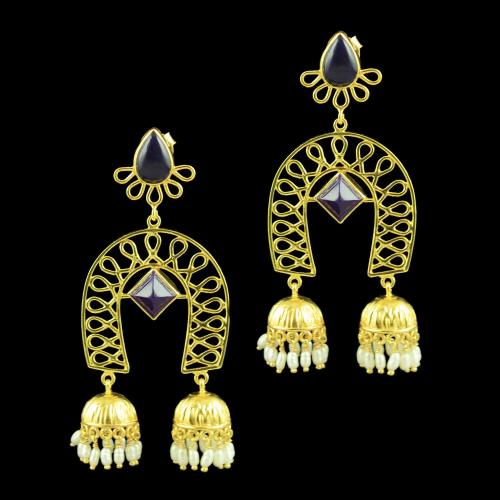 GOLD PLATED JHUMKAS EARRINGS WITH ONYX STONES