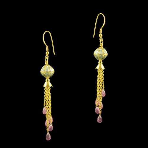 GOLD PLATED HANGING EARRINGS WITH CZ AND ROSE QUARTZ BEADS