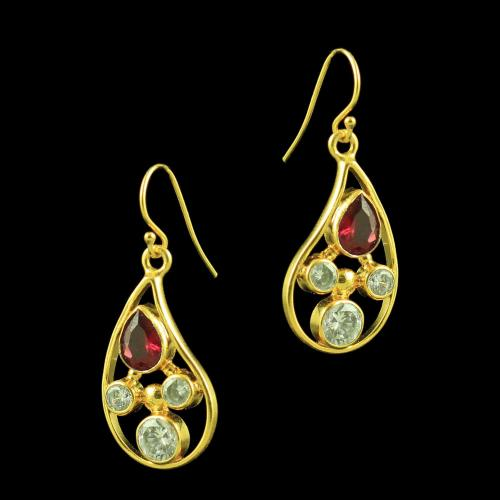 Gold Plated Hanging Earring Zircon Stone And Green Onyx