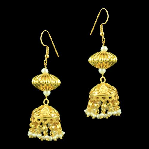 GOLD PLATED JHUMKAS EARRINGS WITH PEARLS