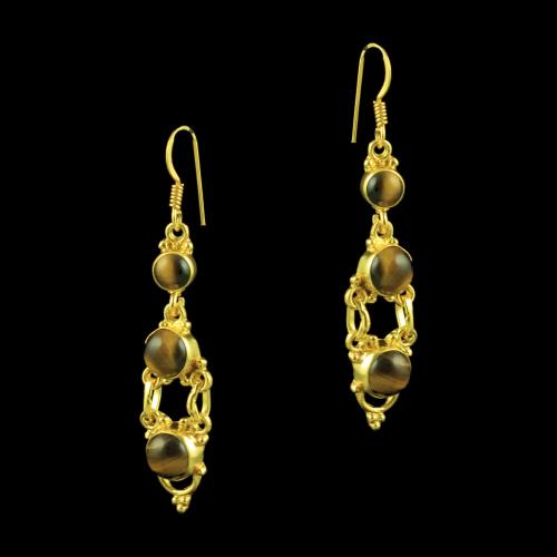 GOLD PLATED HANGING TIGER EYE EARRINGS