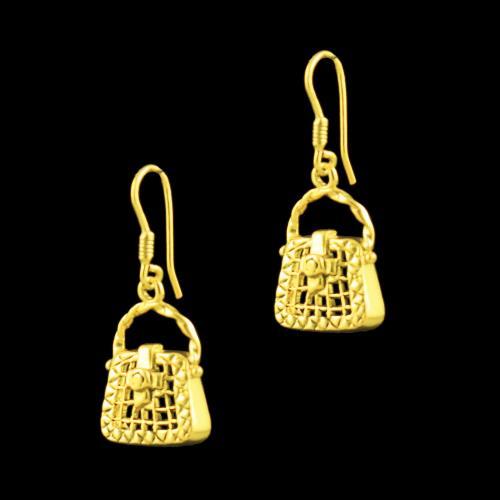 GOLD PLATED BAG DESIGN HANGING EARRINGS