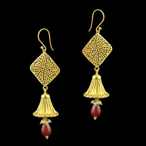 GOLD PLATED JHUMKAS EARRINGS WITH RUBY PEARL BEADS