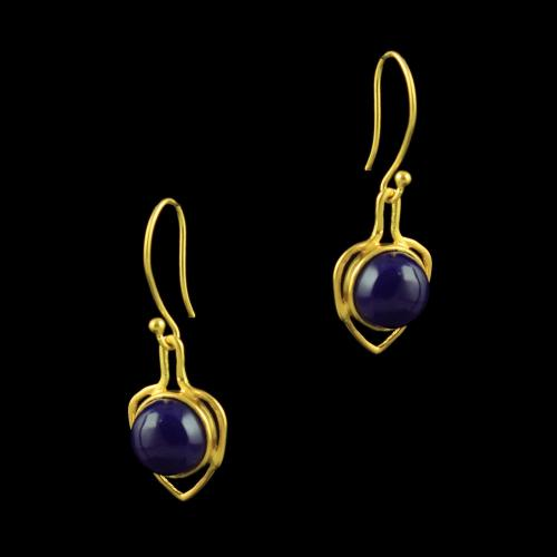 GOLD PLATED HANGING EARRINGS WITH PURPLE ONYX STONES