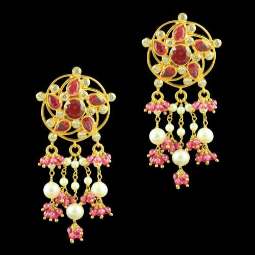 GOLD PLATED EARRINGS WITH CZ RUBY AND PEARL BEADS