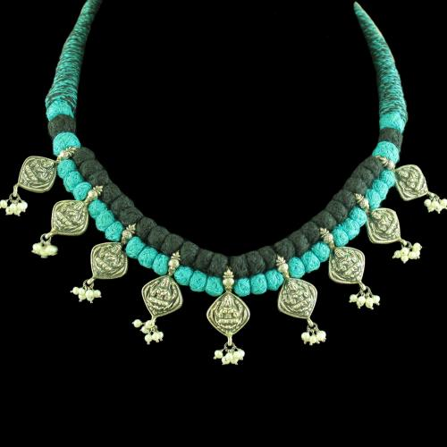 OXIDIZED LAKSHMI DESIGN THREAD NECKLACE WITH PEARL BEADS