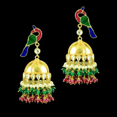 GOLD PLATED KUNDAN STONE PEACOCK JHUMKAS EARRINGS
