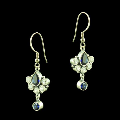 OXIDIZED SILVER CZ AND BLUE SAPPHIRE EARRINGS