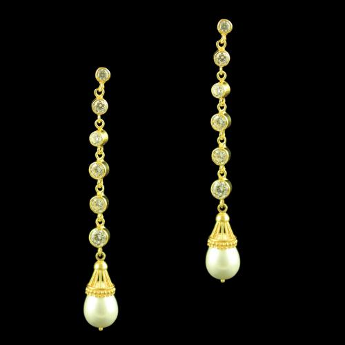 GOLD PLATED PERAL DROPS CZ EARRINGS