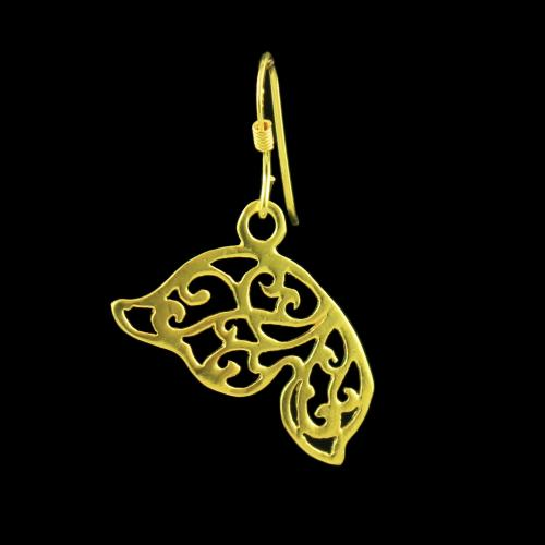 Gold Plated Silver Hand Painting Hanging Earrings