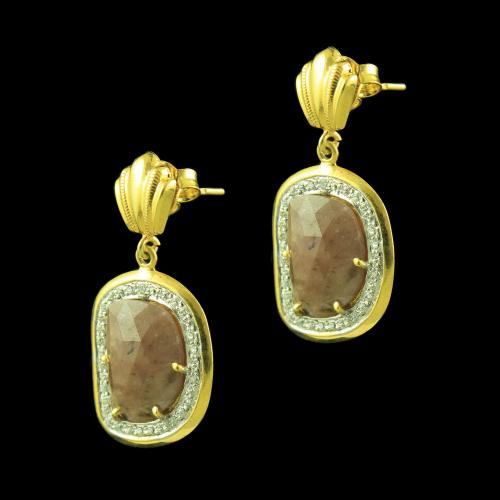 GOLD PLATED ONYX AND CZ EARRINGS
