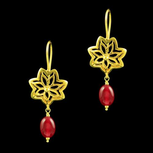 GOLD PLATED FLORAL RUBY BEADS EARRINGS