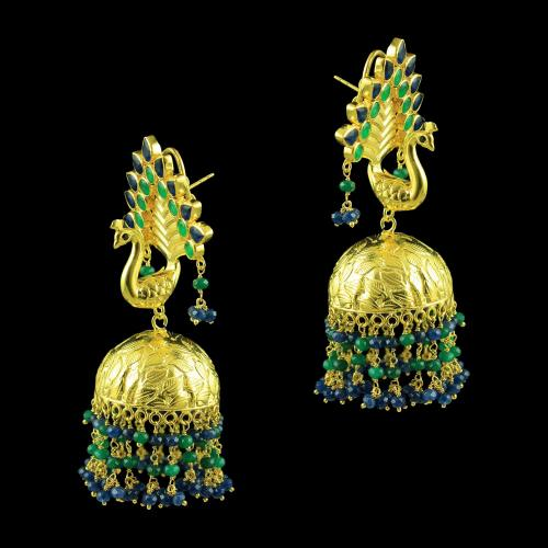 GOLD PLATED PEACOCK EARRINGS WITH GREEN HYDRO AND SAPPHIRE BEADS